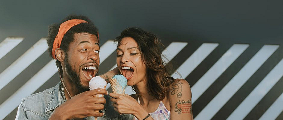 couple eating ice cream on a date