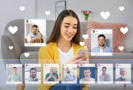 a woman using modern online dating apps to meet men