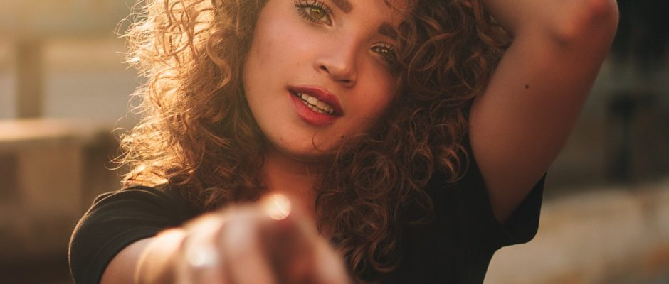 curly hair attractive woman