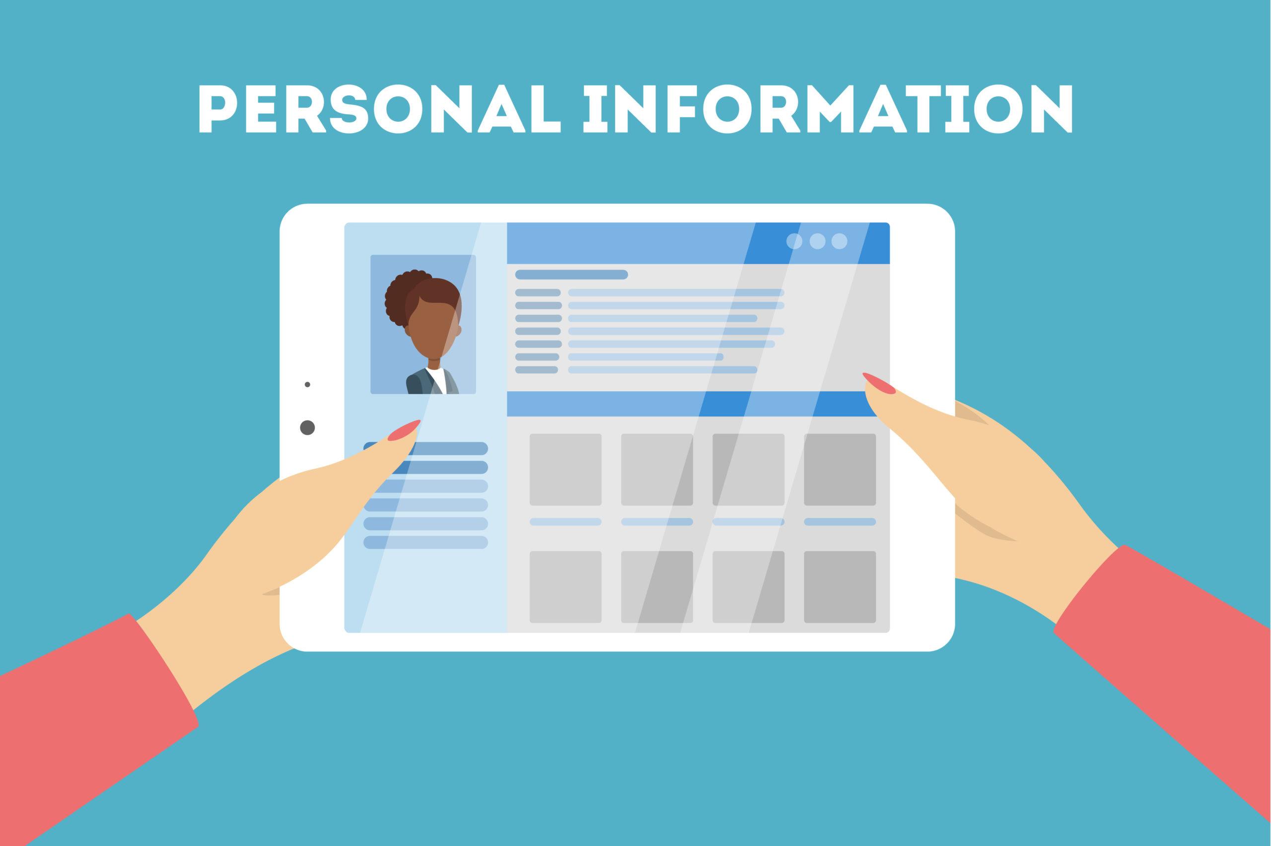 Personal information concept illustration. Data on tablet.
