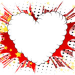 illustrated comic book style heart, abstract love symbol