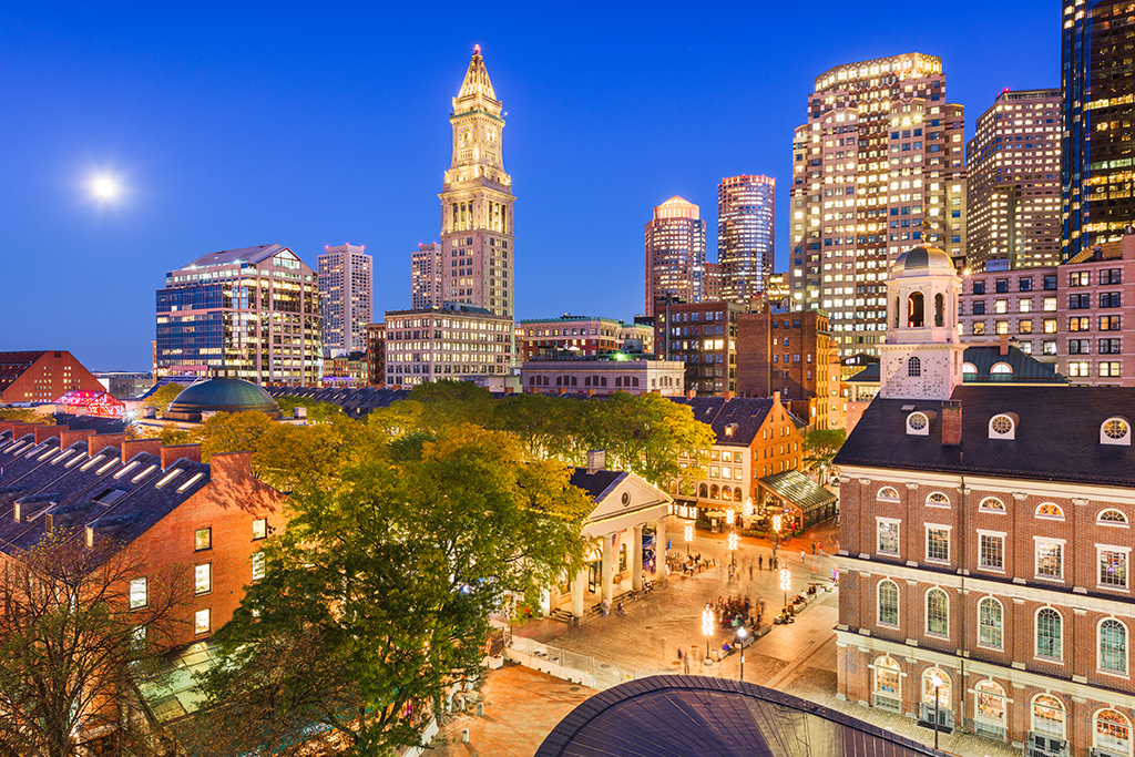 Boston city for singles, Massachusetts, USA skyline with Faneuil Hall and Quincy Market